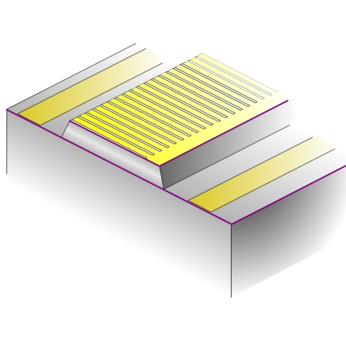 Diagram of the metallic grating on the top of our QCL waveguide